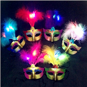 Hot LED Party Mask Face Novedad Flash Gold Powder Princess Máscara de resina PVC Masquerade Máscaras venecianas New Halloween Party Mask