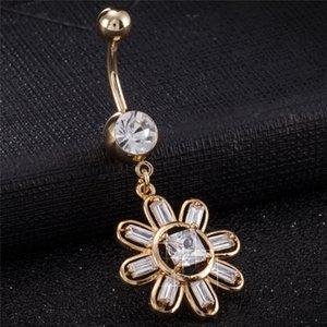 18K Gelbgold überzogen Top-Qualität freie CZ Sun Flower-Bauch-Ring baumeln Nabel Bauchn Button Ring für Frauen BR-198