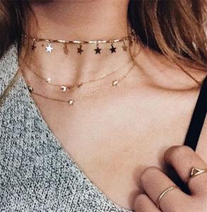 Cadena de color dorado Tiny Star Gargantilla Collar para mujer Collares Bijouter Colgantes Simple Boho Capas Gargantillas Chockers