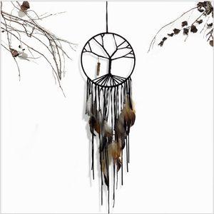 Main noir arbre de vie Dream Catcher Intérieur Home Decorations Bijoux faits à la main Gland Cristal Pendentif Ornements
