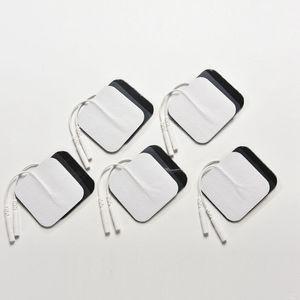 10 pcs / lot Auto-Adhésif Réutilisable Tens Électrode Pad Gel Électrodes Numérique Thérapie Machine Masseur Musculaire Stimulateur 2mm Plug