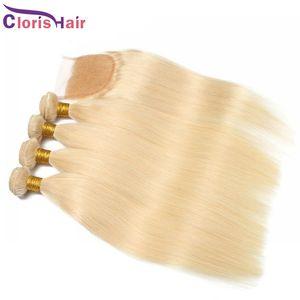 Blonde Blonde Pein Bundles Closure Raw Virgin Indian Silk Human Human Weaves With Top Lace Cierre Barato Rubio 613