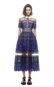 Vente en gros- 2016 nouvelle arrivée marque Self Portrait Style dentelle Crochet Dress Femmes Long Maxi cheville-longueur robe Fashion Runway Blue Dress