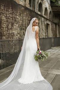 Juliet Cap Une Couche De Voile De Mariage Cathédrale Longueur Cut Edge Bridal Veil Lace Avec Peigne 187a