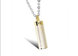 Nueva moda popular Nueva Retro Biblia Clásica versos de titanio columna plana Colgante Cruz Collar de la joyería hombres hombres