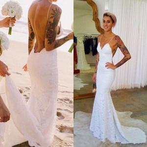 2017 Sexy New Spaghetti Straps Lace Sheath Wedding Dresses Lace Backless Summer Beach Bridal Wedding Dresses