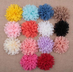 Tela hecha a mano Rose Flower Cabbage Rosettes Puff Flower For Baby Headband Head Flowers Accesorios para el cabello YH448