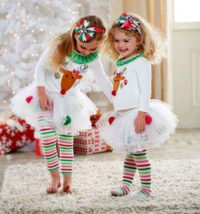 Bebek Noel Ren Geyiği Giyim Seti Kız Butik Giyim Yürüyor Noel Kıyafet Renkli Noel Geyik Çocuk Giyim Elbise Set Pantolon + Uzun Pantolon