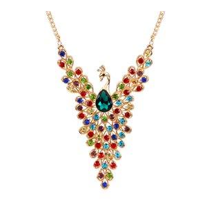 2017 nuovo oro di lusso color design pavone multicolore creato collana di diamanti per le donne da sposa all'ingrosso spedizione gratuita
