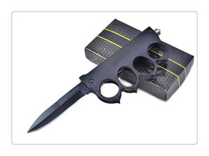 Wholesale Knife 56HRC double action Tanto Knife out the front CNC D2 steel blade Satin Plain 6061-T6 aluminum handle EDC tactical knives