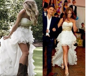 Modest High Low Beach Country Vestidos de novia 2018 Sweetheart Buffing Ruffles Hi-Lo vestidos de novia blancos de organza Barato vestido de novia