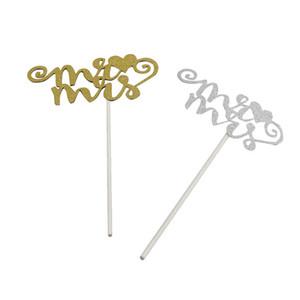 Glitter Kağıt Mr Mrs Kek Topper Özel Düğün Pastası Topper Parti Dekorasyon Gelin Duş Dekor Düğün Iyilik