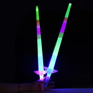 Led barra de luz retráctil, espada luminosa para niños, canto, juguetes luminosos, reuniendo el mercado nocturno, venta al por mayor caliente