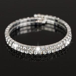 Neuer heißer Fabrikpreis Art und Weisesplitter überzogenes klares österreichisches Kristallhandgelenk-Armband mit 2 Reihen für Frauen Schmucksachen