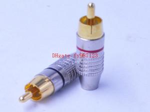 Venta caliente chapado en oro rca enchufe macho sin soldadura de audio y vídeo adaptador de altavoz conector de oro rojo + negro