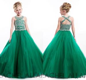 2019 Green Girls Vestidos de desfile Nuevos cristales Con cuentas Cuello redondo Agujero de la llave Vestidos de niña Vestidos de fiesta formal 10 5 7 años