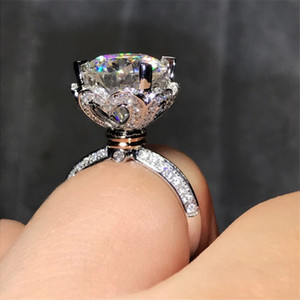 Corona de moda estilo del corazón 925 anillos de plata esterlina 3ct Diamonique 5A Cz compromiso anillo de la venda de boda para las mujeres regalo de la joyería