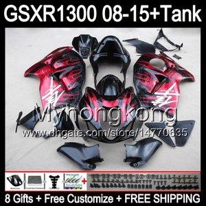 SUZUKI Hayabusa GSXR1300 08 15 GSXR-1300 kırmızı alevler için 14 çiftler 14MY159 GSXR 1300 GSX R1300 08 09 10 11 12 13 14 15 Fairing parlak siyah Kiti