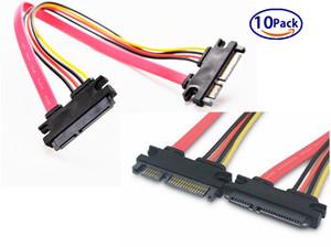 10-PackSATA (7 + 15) 22-Pin Erkek Kadın Erkek 20 inç (50 CM) Veri ve Güç Combo Uzatma Sata Uzatma Kablosu
