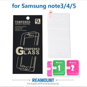 واقي الشاشة الزجاجي المقوى 9H لـ Samsung Note 3 Note 5 Clear Front Films مع صندوق البيع بالتجزئة وأدوات التنظيف