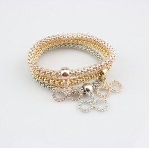 Moda Corn Bracelets Girls / Ladie Lucky 8 de múltiples capas de oro / plata / oro rosa cadena Stretch Rope Bracelet Set