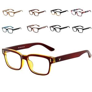 Al por mayor-Classic V-Shaped Box Eye Glasses Marcos Marca para hombres Nuevas mujeres Marcos de la computadora Eyewear Vintage Armacao Oculos De Grau