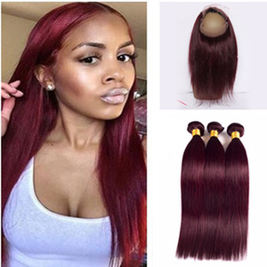 # 99j Coloré Cheveux Vierges Brésiliens de Cheveux Humains Pur Couleur Bourgogne 360 Dentelle Frontale Avec Faisceaux Droites Pré Pincées 360 Dentelle Frontale