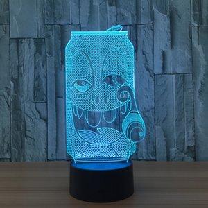 3D che fuma la batteria quinto Dropshipping della luce di notte della lampada 5 di notte della luce di illusione della bottiglia che carica la scatola al minuto di trasporto