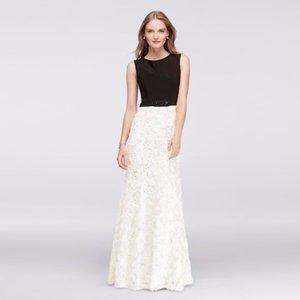 Vestido de una línea con encaje de rosetón 3D con cintura moldeada en negro y marfil 1121793 Madre sexy de la novia de Dres Vestido de fiesta de boda Vestidos formales