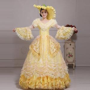 Marie Antoinette Dress Medieval Renaissance Robes De Bal 2017 Nouvelle Scène Photographie Show Robes avec Chapeau Femmes Dentelle Sequined Dress Clothes