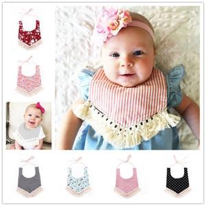 INS Baby Baumwolle Lätzchen Infant Kids Spucktücher Dreiecksbinder Mädchen Jungen Streifen Dot Mund Lätzchen mit Quaste floral verstellbare Lätzchen KSF01