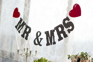 MR y MRS decoraciones Wedding Photo Prop, Kraft Paper Wedding Party Banner, decoraciones rústicas del banquete de la boda del país