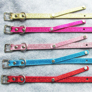 10pcs PU Leather Blank DIY Pet Dog collars with slide bar for 10mm letters and charms