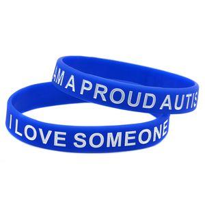 100PCS Io sono un orgoglioso autismo Parent amo qualcuno Con regalo di promozione Bracciale Silicone autismo