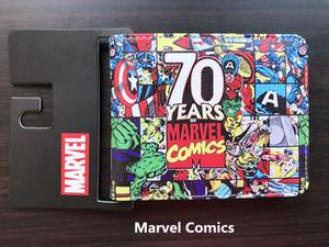 New 70 Anos Marvel Comics Carteiras Carteira Dos Desenhos Animados Anime Bolsa Dinheiro Sacos de carteira carteira masculina Das Mulheres Dos Homens de Couro Ocasional Curta carteira