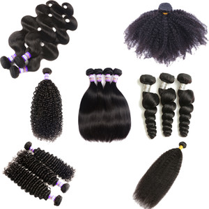 9A Brazilian Human Hair Extensions Kinky Curly Virgin Hair Straight Body Wave Loose Deep Water Wave Weaves Remy Human Hair 3 Bundles