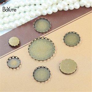 BoYuTe 100Pcs Bronce Antiguo Plateado Redondo 10 12 14 15 16 18 20 25 30 35MM Base de Cabochon Ajuste Diy Jewelry Blank Tray