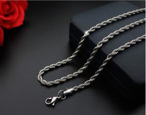 5 pz / lotto colore argento 2mm * 50 cm catena corda collana catene in acciaio inox per gioielli fai da te materiali di fabbricazione