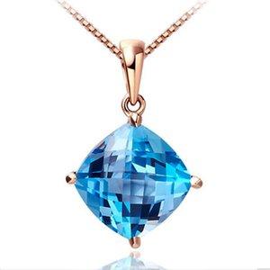 18K розового золота гальванического 925 серебро шахматной доски вырезать 10 * 10 мм подушки аквамариновых синтетический голубого топаз кулон ожерелье для женщин