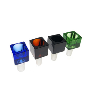 Ciotola di vetro cubico colorato 14mm 18mm Ciotola di vetro del cubo con accessorio di fumare maschio narghilè Bong vetro