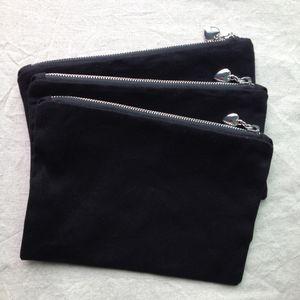 سوداء القطن حقيبة قماش ماكياج مع بطانة لون مطابقة أعلى جودة الفضة البريدي مع الحقيبة مجتذب القلب فارغا القطن لديي الطباعة / الطلاء