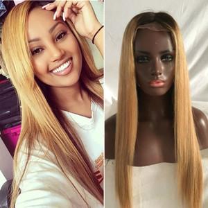 2020 Promoção de Vendas Hot para ombre raízes escuras 27 # mel loira peruca cheia do laço / peruca dianteira do laço 100% cabelo humano