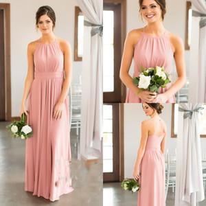 Blush Pink A Line abiti da damigella d'onore Halter 2017 nuovo aperto indietro Chiffon abiti da damigella d'onore per l'estate Beach Party Dress