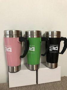 3 PCS 500ml en acier inoxydable Lazy Self Stirring Mug Repas / Thé Tasse À Café Tasses Gobelets Pour Herbalife 1 Rose + 1 Vert + 1Black