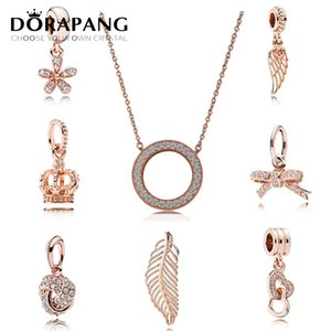 DORAPANG Authentic 925 Sterling Silver Beads Hearts Of Crystal Pendant Necklace Fits European Style Jewelry Rose Gold Plated for Women