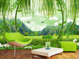 Зеленый пейзаж поля 3D-телевизор фон стена фреска 3d обои 3d настенные обои для ТВ фона
