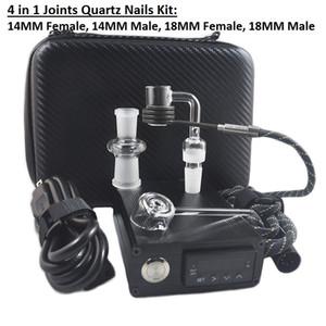 Banger E Nail Quar Electric Dab Nail Box Kit Cuarzo Nail Carb Cap 14 18 MM Controlador de Temperatura Macho Rig Bongs de vidrio