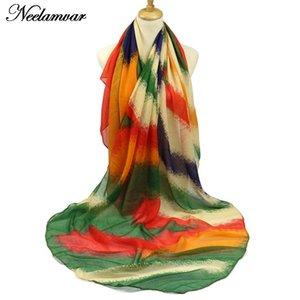 다채로운 따뜻한 줄무늬 도매 - 스카프 여성 목도리 패션 랩 레이디 Pareo Voile 스카프 Echarpes 겨울 Bufandas 가을 및 Winte BFSFS