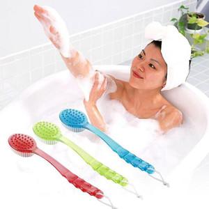 Más nuevo Cepillo de baño de mango largo esponja Body Brush Masajeador Ducha de baño Back Spa Scrubber Cepillos de baño suave rojo azul verde WX-T04