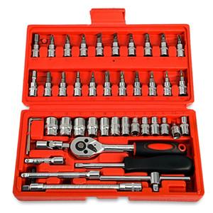 MX-DEMEL Herramienta de reparación de automóviles 46pcs 1/4-Inch Socket Set Herramienta de reparación de automóviles Llave de par de trinquete Combo Herramientas Kit Auto Repair Tool Set + B